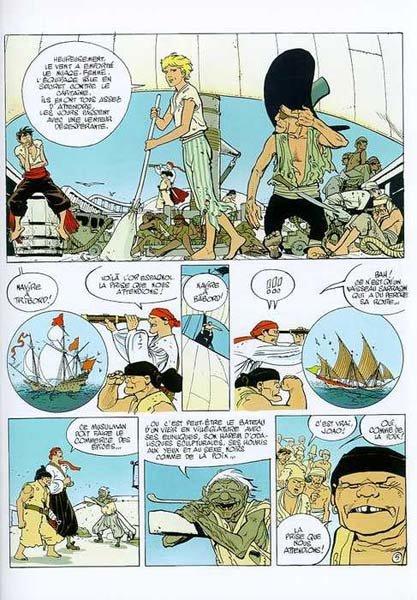 Abuli produz com vários artistas europeus. Acima, Capitaine La Guiboile, história desenhada por Rossi