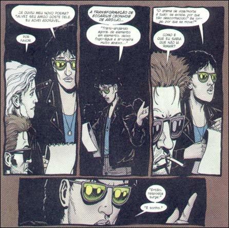 Cena de Preacher Especial - Cassidy: Sangue & Whiskey, lançado no Brasil pela já extinta TEQ/Fractal, onde supostamente aparece Neil Gaiman