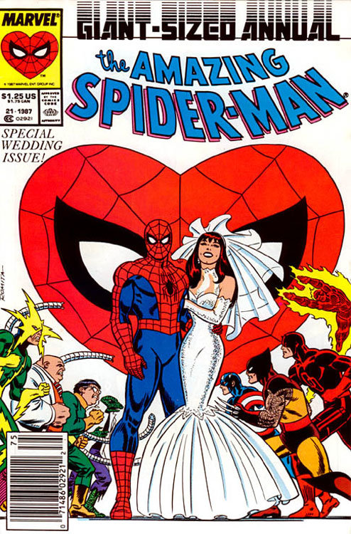 Casamento de Peter Parker com Mary jane, em The Amazing Spider-Man Annual # 21