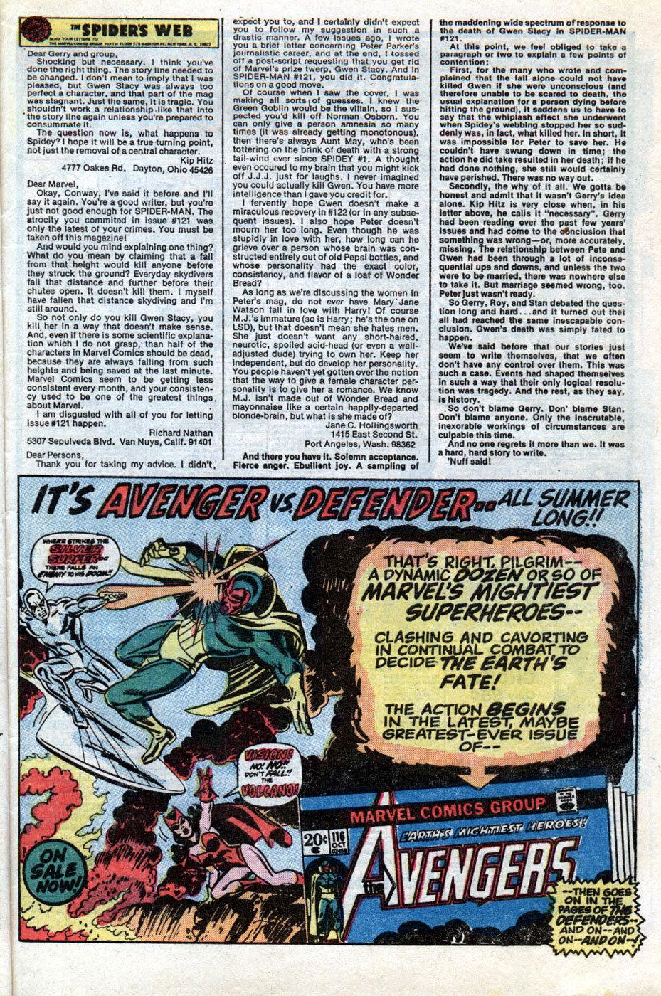 Editorial de The Amazing Spider-Man # 125, sobre a morte de Gwen Stacy