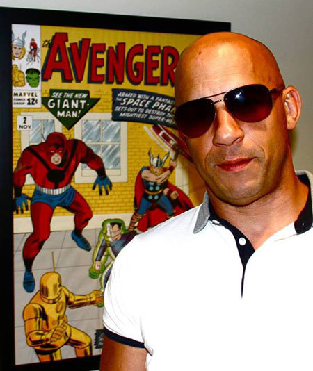 Vin Diesel nos escritórios da Marvel