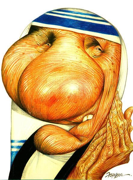 Luiz Carlos Fernandes, artista de Santo Andre, caricaturou madre Teresa de Calcutá