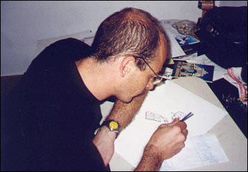Lourenço Mutarelli criando uma ilustração exclusiva para o Universo HQ