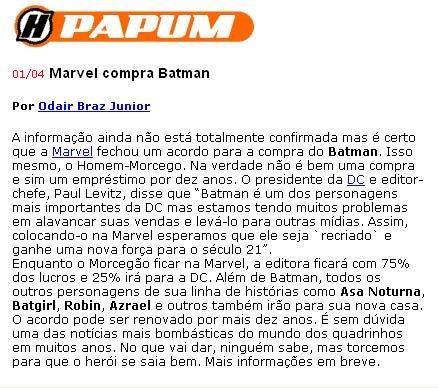 Papum: Marvel compra Batman