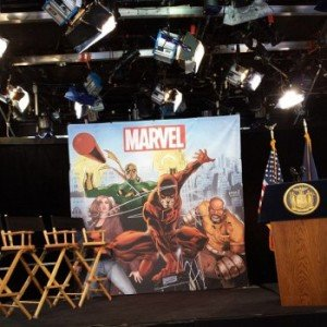 Local da coletiva de impressa da Marvel Entertainment e do Governador de Nov