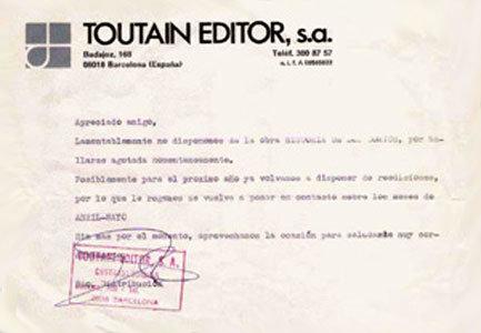 Carta da editora Toutain