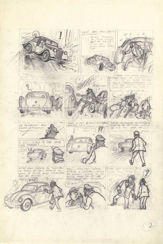 Esboço de Hergé para Tintim e o Thermozéro