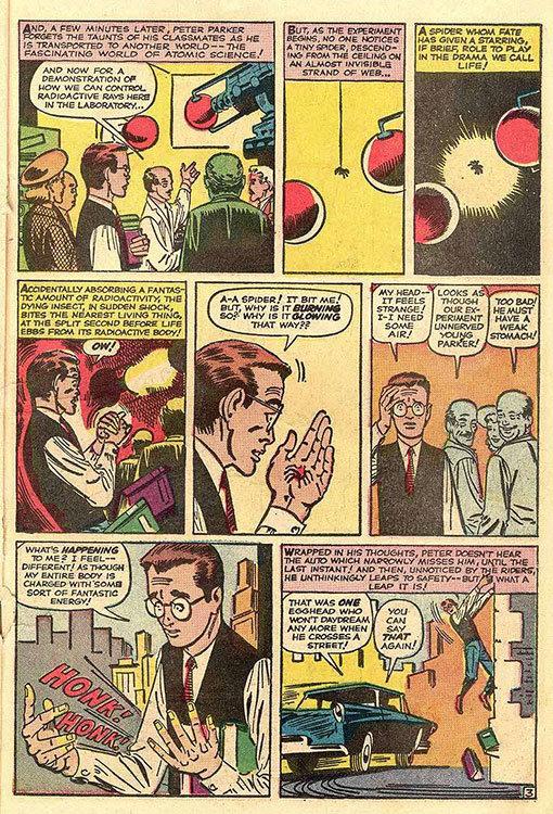 Peter Parker é mordido por uma aranha radioativa, em Amazing Fantasy # 15