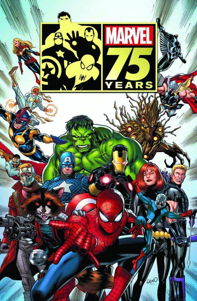 O cartaz do aniversário de 75 anos da Marvel Comics que gerou os rumores