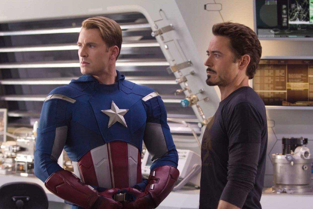 Steve Rogers e Tony Stark, em Os Vingadores