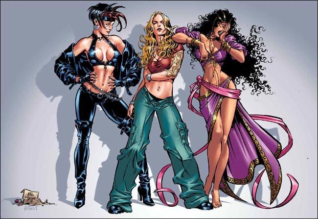 The three witches: Satana, Jennifer Kale and Topaz