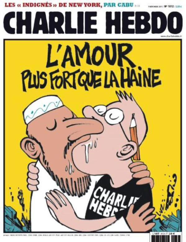 Capa da Charlie Hebdo - O Amor é mais forte do que o ódio