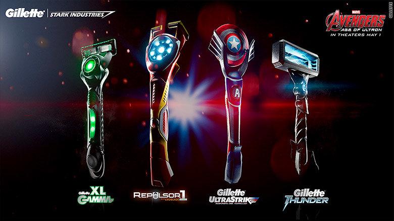 Aparelhos de barbear dos Vingadores, pela Gillette