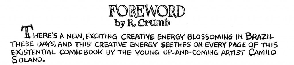 Trecho do prefácio de Robert Crumb