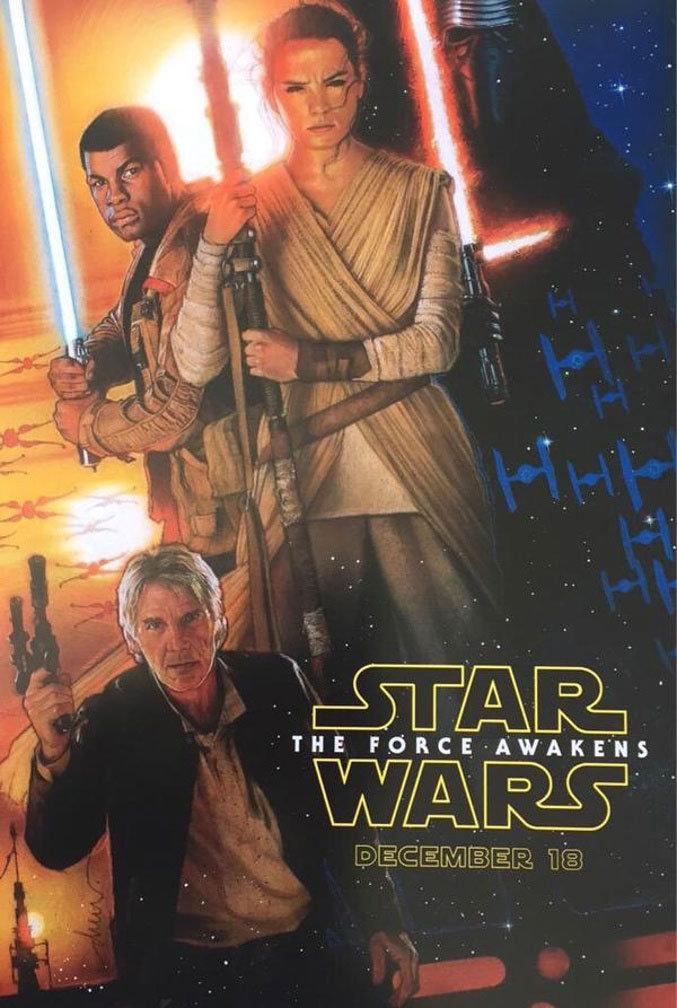 Cartaz de Star Wars - Episódio VII - O despertar da Força, ilustrado por Drew Struzan