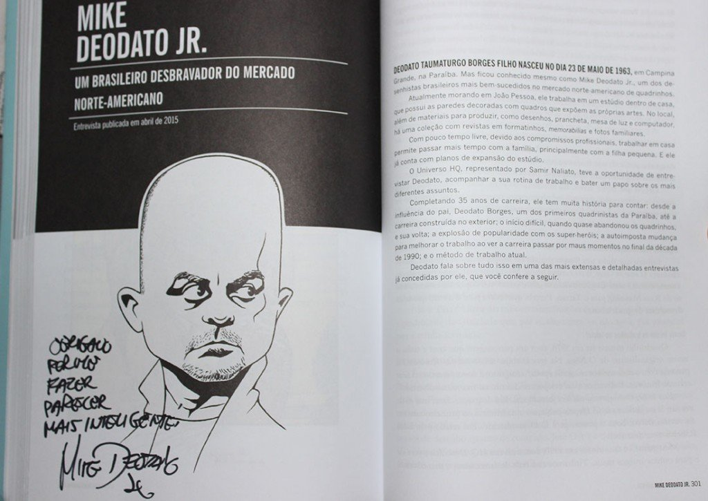 Autógrafo de Mike Deodato Jr. no livro Universo HQ Entrevista