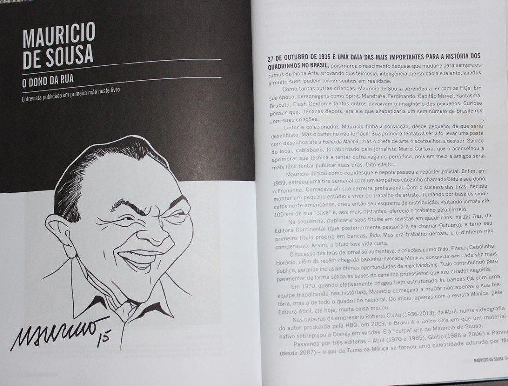 Autógrafo de Mauricio de Sousa no livro Universo HQ Entrevista