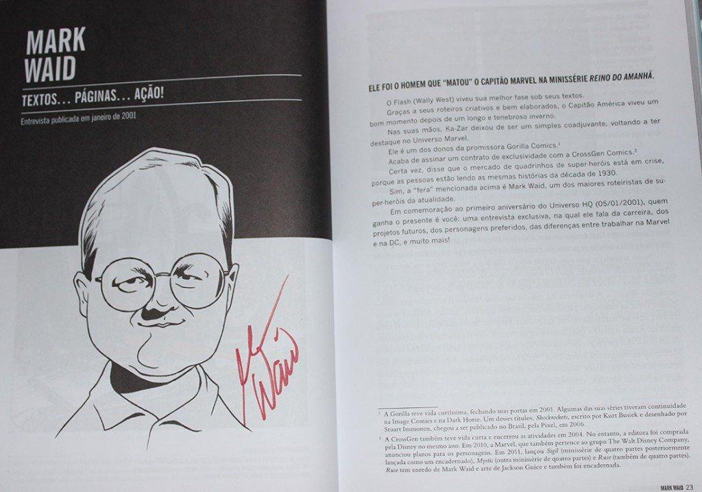 Autógrafo de Mark Waid no livro Universo HQ Entrevista